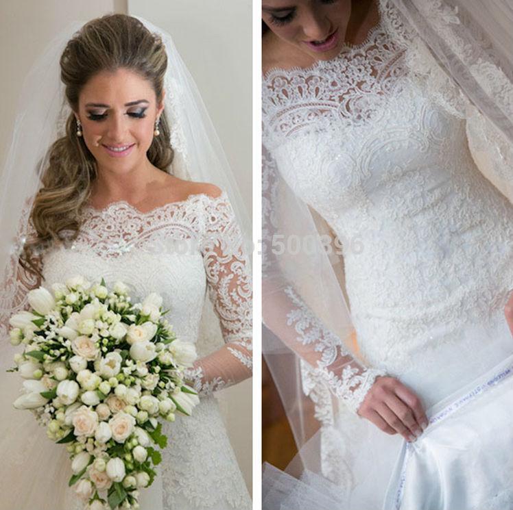 Красивое свадебное платье с кружевом