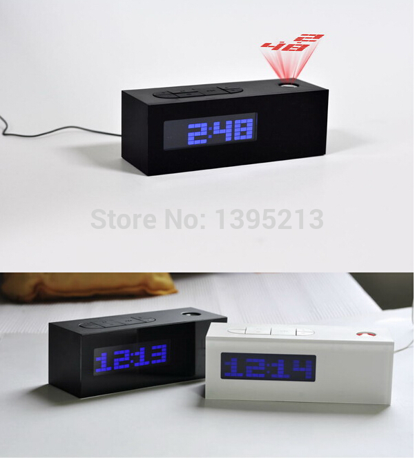 2014 new laser projecting alarm clock display time date temperature projector digital desk. Black Bedroom Furniture Sets. Home Design Ideas