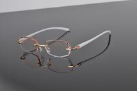 WOMEN RIMLESS PRESCRIPTION EYEGLASSES FASHION CUT DIAMOND OPTICAL EYE GLASS EYEWEAR CRYSTAL LENS METAL FRAME GLASSES 58029