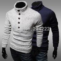 2014 new winter single row of decorative buttons Slim sweater coat men's semi- hedging turtleneck sweater
