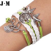 Hot selling Hand-knitted PU leather yarn wax cord tree shape bird pattern fashion charm bracelets, trendy leather bracelets