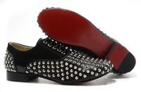 GZ origianl punk genuine leather Red bottom rivet nightclub stage men and women lovers sneakers,EUR 35-46,brand tenis shoes
