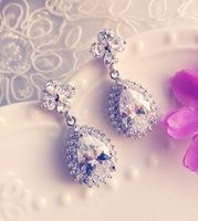 Bride zircon rhinestone bridal earrings drop earring marriage accessories