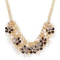 Pearl Drop Enamel Flower Alloy Gold Tassel Chunky Statement Necklaces & Pendants New 2014 Fashion Jewelry Women Wholesale N188
