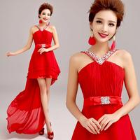 Red low-high evening dress formal dress winter A2872#