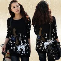 Plus size clothing autumn mm 2014 medium-long basic sweater autumn top