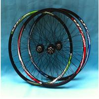 Free shipping MTB bike bicycle saddle road bike wheel 26 inch and  32H bike seat post   wheelset 4 bearing  bicycle wheel