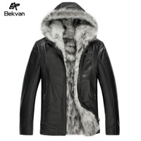 New Fox fur collar one piece men's clothing hooded short design fur jacket outerwear genuine Leather & Suede casual winter coat