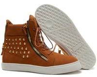 GZ origianl punk genuine leather Coffee suede high help golden rivet men and women lovers sneakers,EUR 35-45,brand tenis shoes