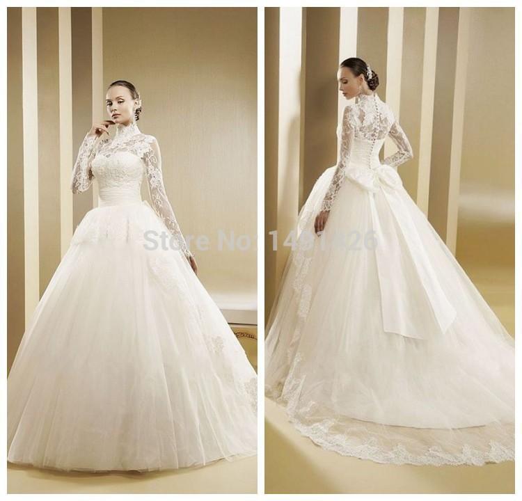 Long Sleeve Wedding Dresses Modern : Vestido de noiva modern muslim wedding dress ball