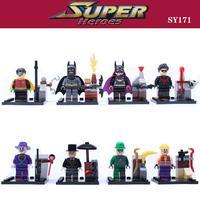 8pcs BATMAN Bruce Wayne Super Robin Hood Hero Avengers Minifigures Model Building Marvel sy171 Blocks Compatible With Lego