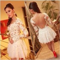 7 new summer dress 2014 casual Design White Sexy Bandage lace Dress backless Prom Party dress vestido de festa femininos