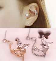 New Arrival Fashion Angel Butterfly Earrings Delicate Crystal Tassels Ear Clip Earrings For Women AE683