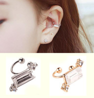 New Style Cuff Earrings Gold Plated Geometric Square Shape Ear Clip Earrings For Women AE630-3