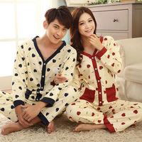 Lovers New Fashion Casual Sleepwear Shirt V-Neck Cotton Mens Pajamas Sets Pijama Women