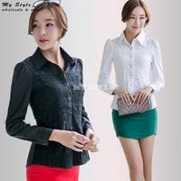 2014 Fashion Formal Ladies Office Shirts Black White Elegant Female Shirt Chiffon Lace Blouse Long Sleeve Plus Size Tops 2134