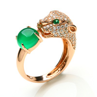 Fashion leopard head ring 925 silver inlaying green chalcedony egg noodles luxury zircon silver Women