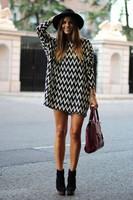 Hot Sale 2014 New Fashion Black and White Chevron Dress Women's long Sleeve Dress doll cute outfits tunic dress