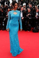 Fashion Mermaid Long Sleeve Lace Sequins Beading See Through Blue Floor Length Evening Prom Celebrity Dresses 2015