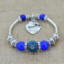 silver love heart charm bracelet bangles glass beads strand bracelets fashion jewelry for women 2014