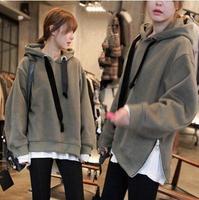 2014 New Autumn&Winter Oversized Woman Hoodie Sweatshirt Medium Loose Letter Women Pullovers Velour Tracksuit Warm Fleece
