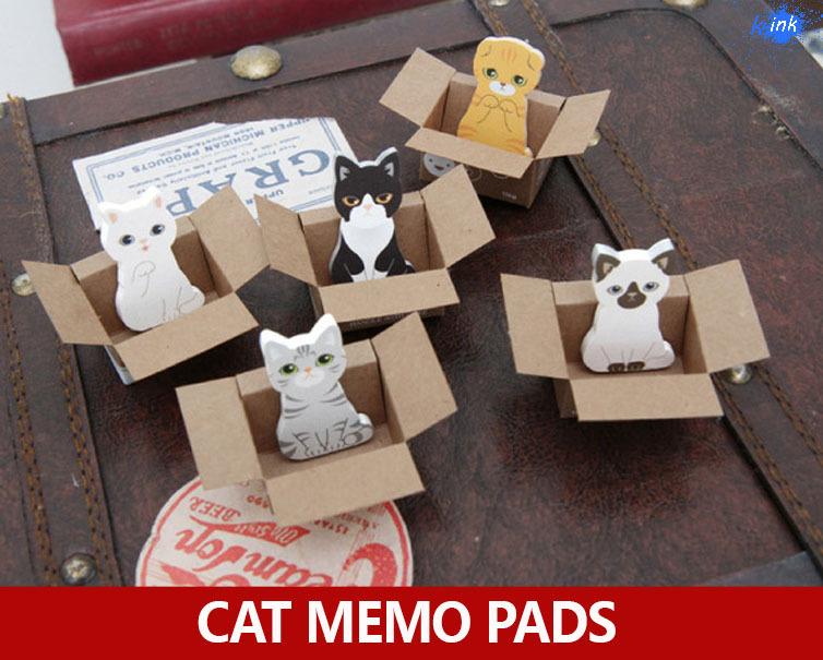 50pcs / lot Kawaii box cat sticky notes , cute cat stickers as memo pad as Korean school stationary for diary memo memo notepads(China (Mainland))