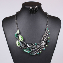 Luxury Wedding vintage Jewelry Sets 2015 Women Black plated Color drip leaf shape Necklace/Drop Earrings African Jewelry Set(China (Mainland))