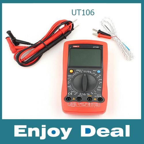 UNI-T UT106 Digital Automotive Multi-Purpose Meters UT-106 Handheld AC DC Volt Amp Ohm Temp Automotive Multimeter(China (Mainland))