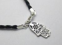 20 Black Leatheroid Braided String Kabbalah Hamsa Hand Charms Bracelets