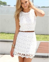 2014 casual white lace dress fashion sexy  hollow  evening dress two 2 pieces party dress free shipping