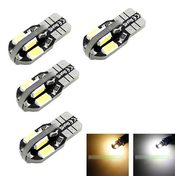 (Pack of 6) T10 8leds SMD 5630 LED car Light Canbus NO OBC ERROR T10 W5W 194 SMD Led Bulb Warm white,White(China (Mainland))