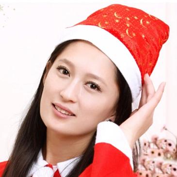 jk2831# 12 Pcs/Set 26cm*38cm Velvet Printing Gold Hat Bar Ball Snow Moon Star Anise Star Mixed Adult Christmas Hats Color Lot(China (Mainland))