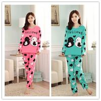 Free Shipping New 2014 Fashion Women Pajamas Cartoon Character Pyjamas Women Long Sleeve Spring Autumn Casual Cotton Sleepwear
