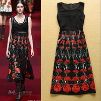 2015 fashion gauze sexy patchwork flower print medium-long one-piece dress