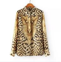 Free shipping 2014 Wholesale new  long-sleeved shirt lapel chiffon blouse