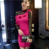 Women's Autumn new fashion Sexy Club slim casual dress, Cascading Ruffle long sleeve lace dress, elegant women party dresses