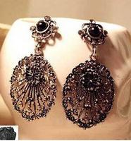 European and American Palace retro hollow flower pearl earrings,earrings for women,red earrings,long earings