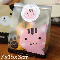 Pink thank you cute open top food Wrap bags  7cmX15cmX3cm