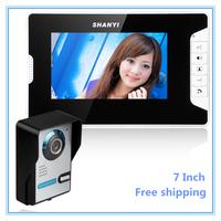 Free shipping 7 Inch Night Vision Video Door Phone Doorbell Intercom Home Security Camera Monitor Kit 1-camera 1-monitor Night