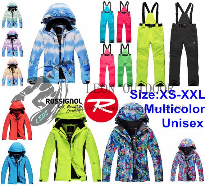 Livraison gratuite rossignol hommes,/féminine's unisexe. ski, costumes,/veste/pantalon ski snowboard windrpoof hiver, extérieure imperméable à l'eau ensemble