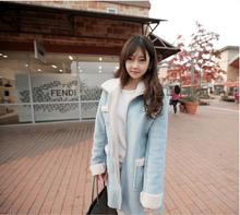 Fashion Women Suede Coat Winter Fleece Lining Pockets Turn-down Collar Fur Long Sleeve Warm Jacket Outerwear Overcoat(China (Mainland))