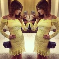 2014 fashion women winter dress sexy yellow lace dress slash neck party dress evening dress free shipping