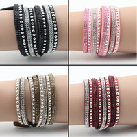 New Hot Selling Fashion 8 Layer Leather Bracelet! Charm Bracelets Bangles For Women !Buttons Adjust Size!1pcs Free Shipping!