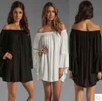 2014 new fashion slit neckline loose chiffon one-piece dress