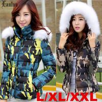 Lanluu New Brand Camo Jackets 2014 Womens Military Coats Hooded Female Winter Outwear SQ1061