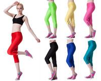 Summer 2014 Casual Yoga Pants Opening Zipper Mid Waist Fitness Pants Candy Color Leggings Capris Thin Legging Sport S16-11