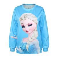 Digital Printing The Queen Frozen Elsa Loose Hoodies PUNK Sweater Womens Tops Hedging Sweatershirt Pullover Casual Saia Feminina