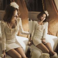 2014 autumn and winter Korean version bottoming ruffle dress women dress party evening elegant woman clothes slim casual dress