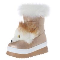 Women's Fox Fur Platform Snow Boots