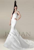 2015 one Shoulder Mermaid Wedding dresses Sleeveless Floweres Satin Court Train  Ivory Wedding Dresses Bridal Gowns